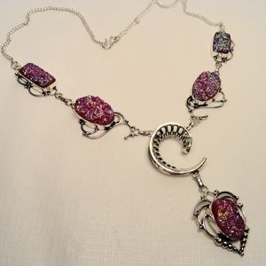 Jewelry - SUPER BLING! Pink Titanium Crystal Quartz Necklace